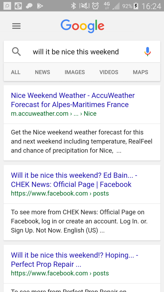 "Google mobile search: ""will it be nice this weekend?"""