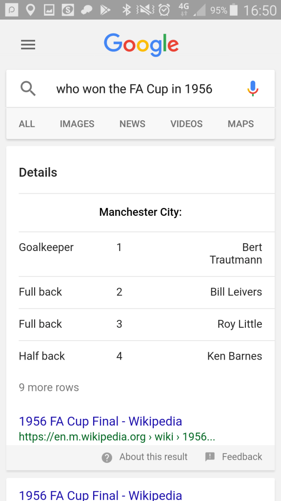 "Google mobile search: ""who won the fa cup in 1956?"""