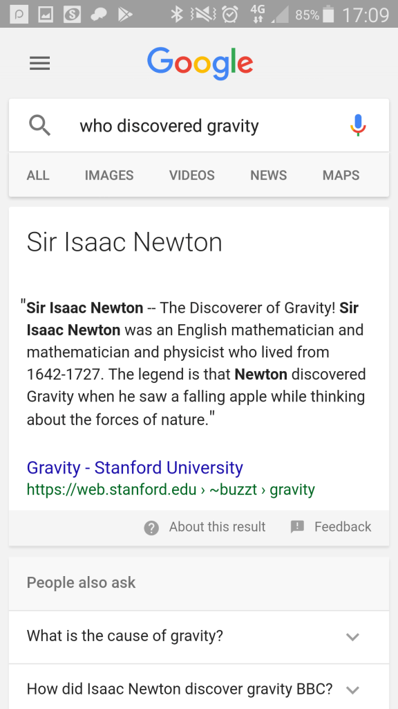 "Google mobile search: ""who discovered gravity?"""