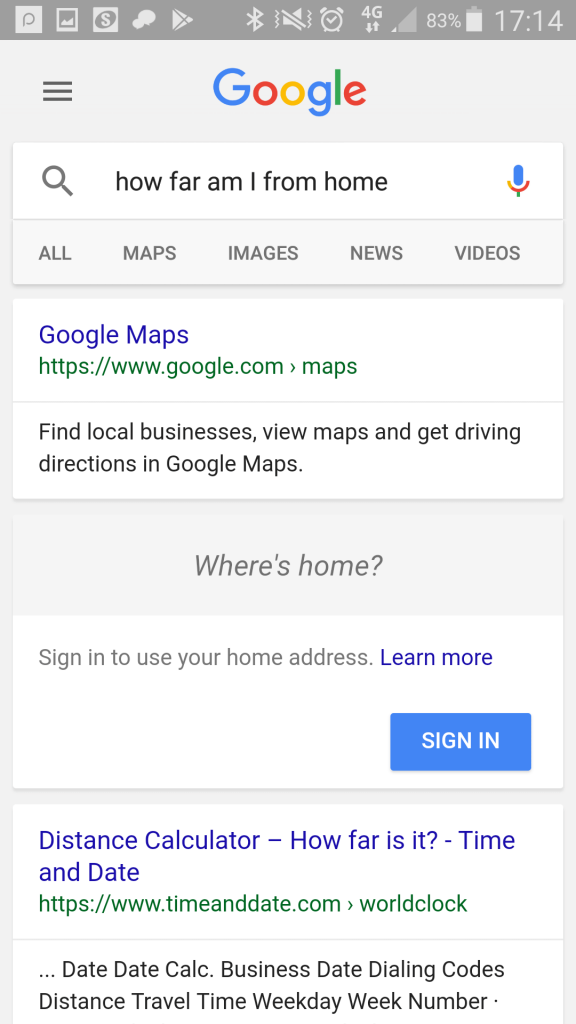 "Google mobile search: ""how far am I from home?"""