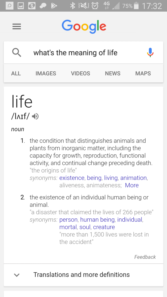 "Google mobile search: ""what's the meaning of life?"""