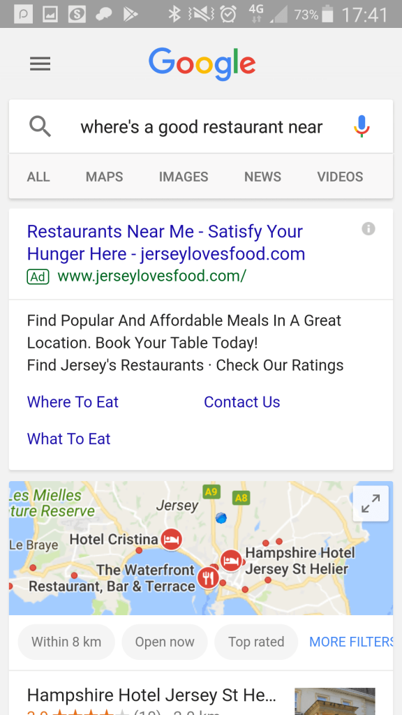 "Google mobile search: ""where's a good restaurant near me?"""