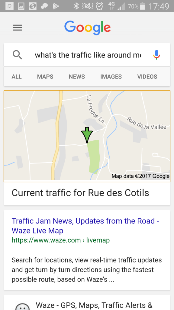 "Google mobile search: ""what's the traffic like around me?"""